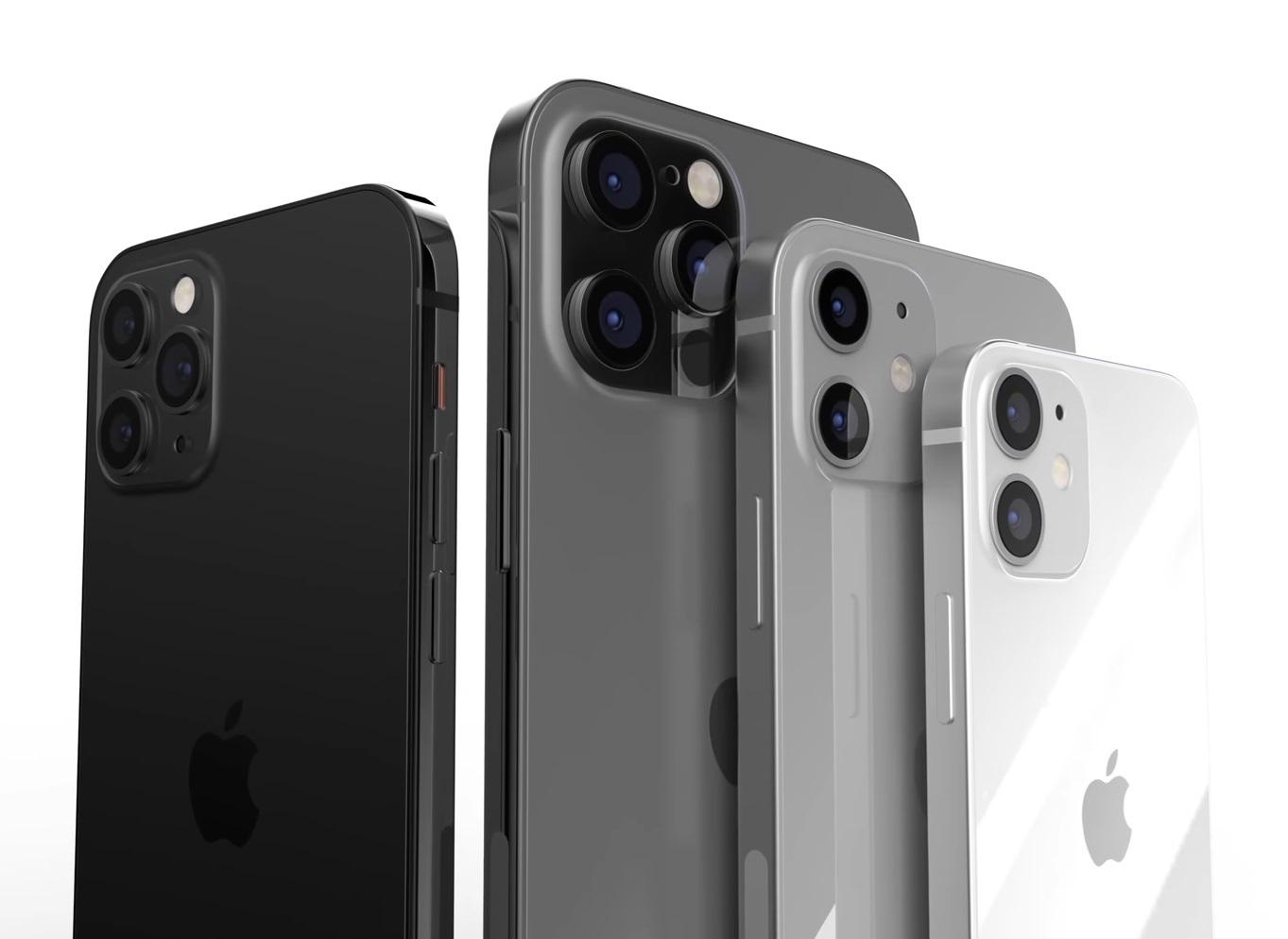 On voit bien la différence de taille entre les quatre modèles de Iphone 12
